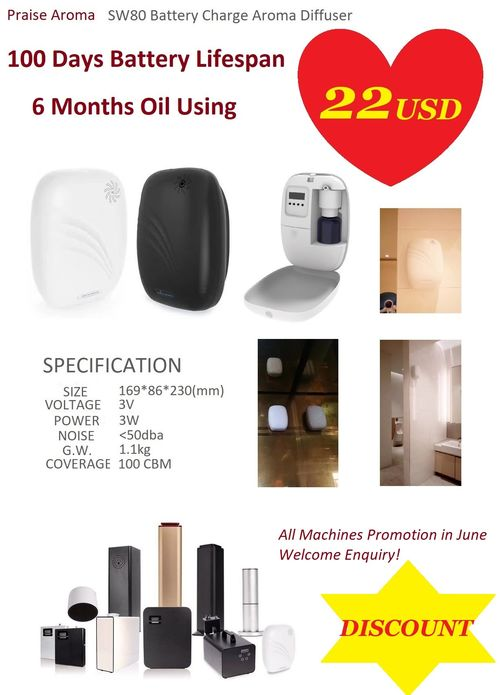 Battery Charged Wall Mounted Small Area Scent Diffuser SW80 for the Bathroom of Hotel, Airport, Hospital, Mall and All Buildings.